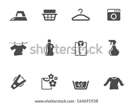 Laundry icons in single color - stock vector