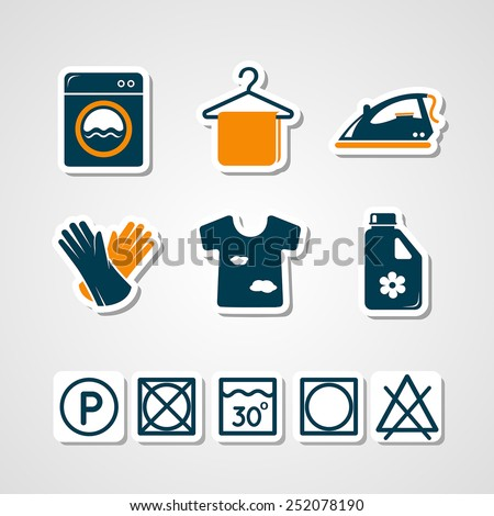 Laundry paper cut icons - stock vector
