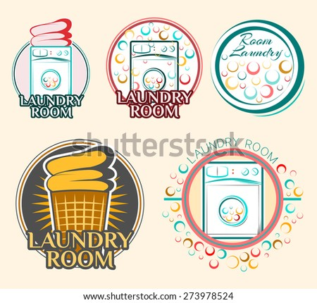 Laundry Room label and badge. washing machine.  Laundry washer. the Laundry basket - stock vector
