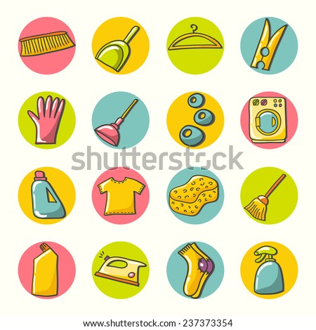 Laundry room symbols and icons. Hand drawn illustration. - stock vector