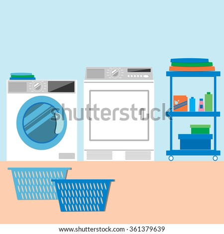 washing machine and dryer clipart. laundry room with washing machine and dryer. flat style vector illustration. dryer clipart n