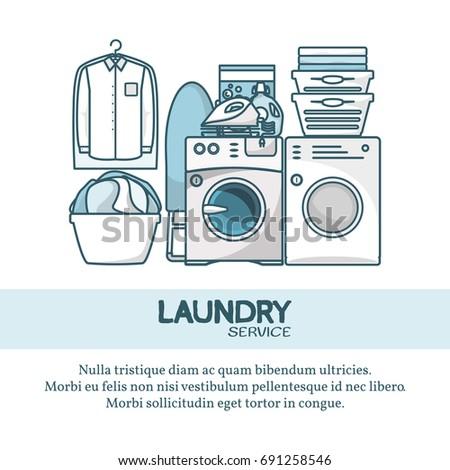 Laundry Service Concept Vector Illustration Creative Stock Vector
