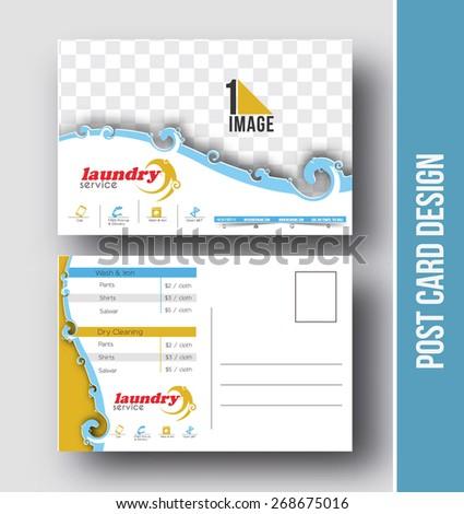 Laundry Service Postcard Design Vector Template Stock Vector 2018