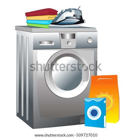 Laundry service. Vector illustration.
