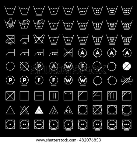 Chlorine icons banque dimages dimages et dimages vectorielles laundry symbols line design washing ironing bleaching drying dry clean and urtaz Gallery