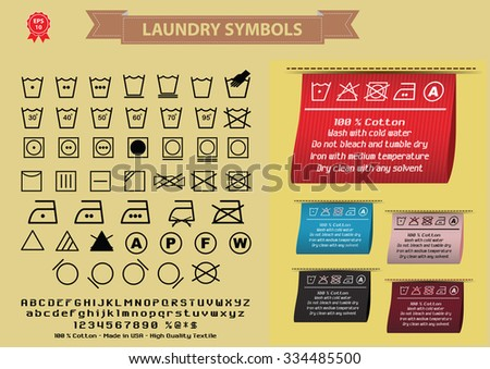Laundry symbols or laundry signs. editable. - stock vector
