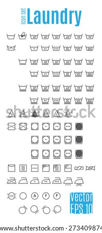 Laundry symbols. Table information and icons for the proper care of things. Easily Editable vector illustration on white background. - stock vector
