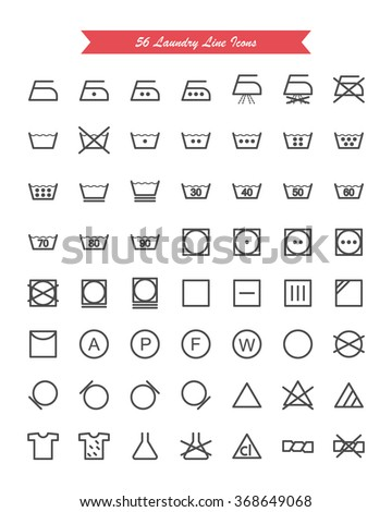 Laundry & Washing Line Vector Icons Set - stock vector