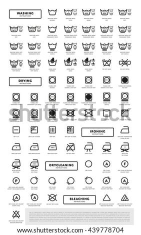 Laundry washing symbols icon set, vector illustration - stock vector
