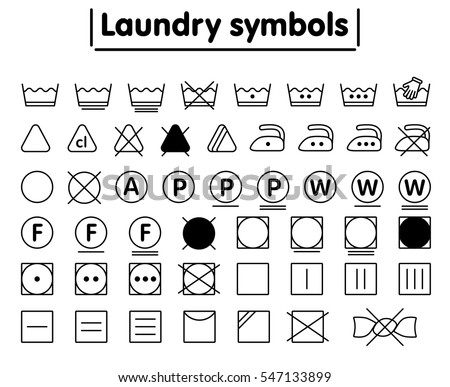 Laundry Washing Symbols Set Minimal Line Icon Black And White