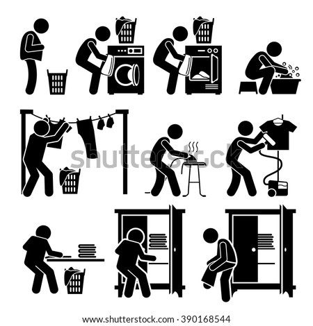 Laundry Works Washing Clothes Pictogram - stock vector