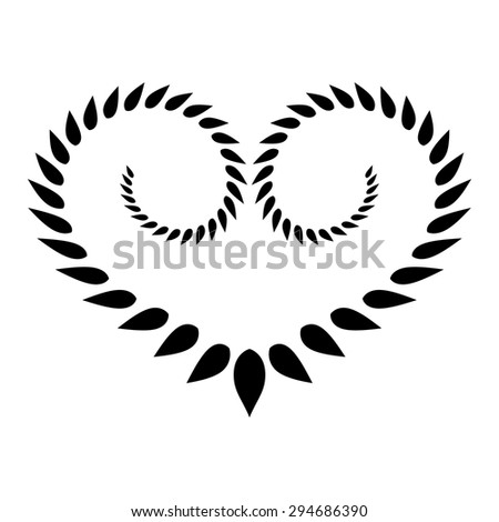 Laurel heart wreath tattoo. Black stylized ornament, leaf silhouettes on white background. Valentine day, birthday, defense, belief, glory, love symbol. Vector - stock vector