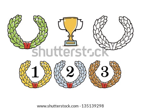 laurel wreath and winner cup - stock vector