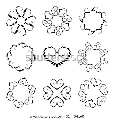 Laurel wreath tattoo set. Wheat with heart silhouettes. Spiral curled swirl signs on white background. Stylized unusual ornament. Valentine day, birthday, belief, glory, love symbol. Vector  isolated - stock vector