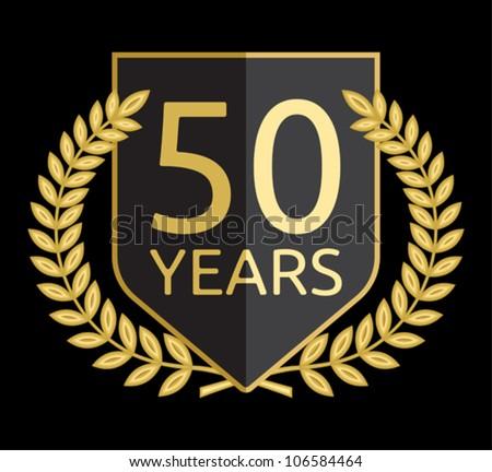 laurel wreath 50 years - stock vector