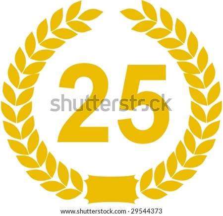 laurel wreath 25 years - stock vector