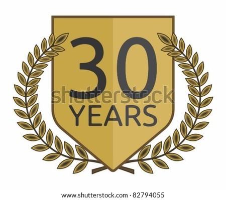 laurel wreath 30 years - stock vector