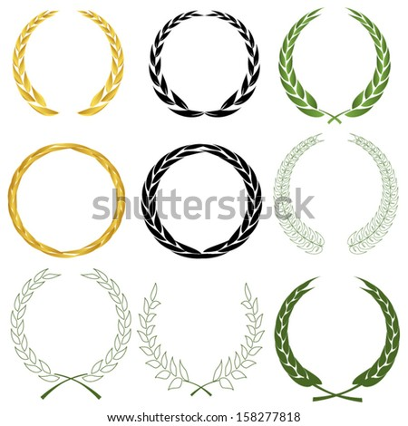 Laurel wreaths - stock vector