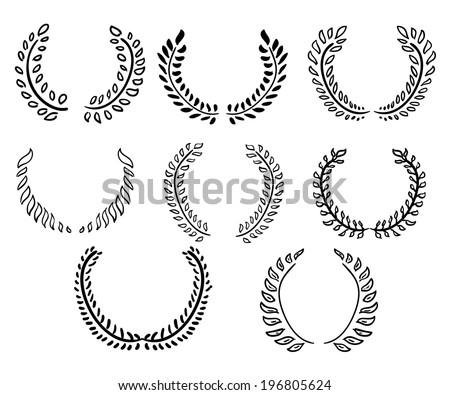 Laurel wreaths collection. Vector eps10. - stock vector