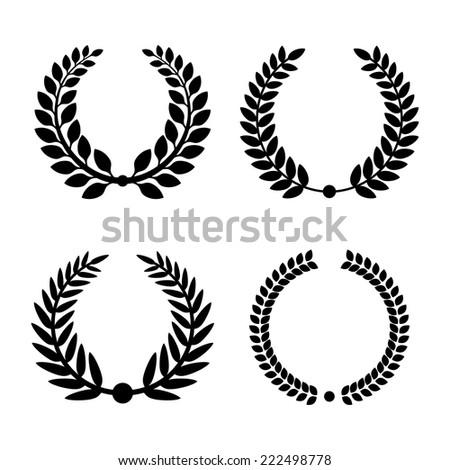 Laurel Wreaths on White Background. Vector Illustration - stock vector