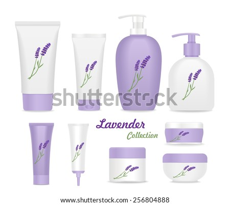 Lavender collection. Violet and white tubes isolated on white. vector - stock vector