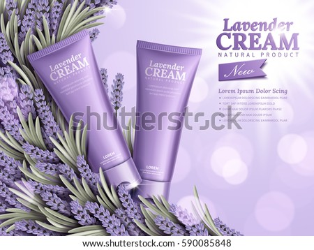 Lavender cream ads, natural skin care products with purple package and lavender element isolated on bokeh background in 3d illustration
