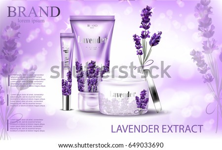 Lavender cream ads, natural skin care products with purple package and lavender elements isolated on glittering bokeh background in vector 3d illustration