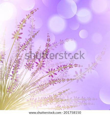 Lavender Flower Over Purple Bokeh Background - stock vector