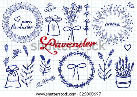 Lavender set. Hand-drawn cartoon lavandula collection - flowers, calligraphy, floral elements. Doodle drawing by blue pen on the notebook sheet. Vector illustration.