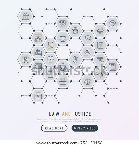 Law Justice Concept Honeycombs Thin Line Stock Vector 756139156