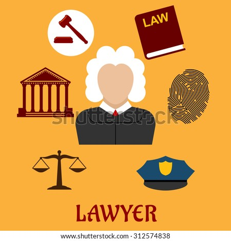 Law and justice flat icons surrounding a lawyer with a courthouse, law book, fingerprint, police cap, scales and gavel on yellow. Lawyer profession concept - stock vector