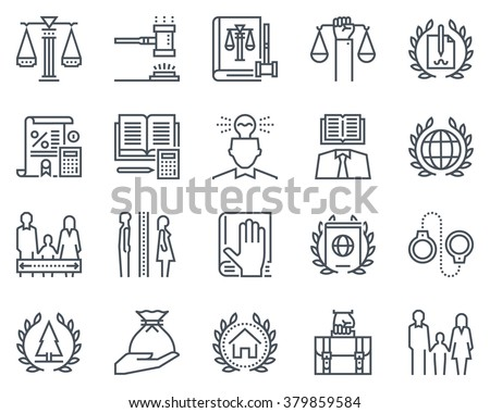 Law and justice icon set suitable for info graphics, websites and print media. Black and white flat line signs. - stock vector