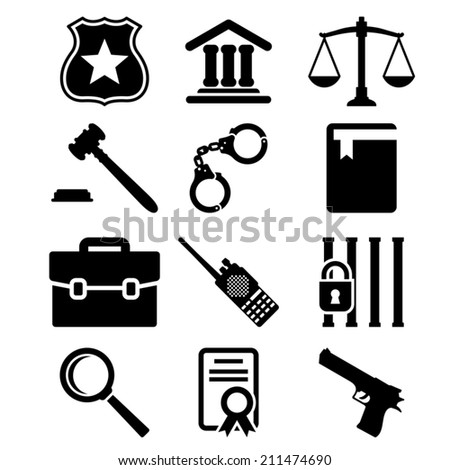 Law and justice icons set. - stock vector