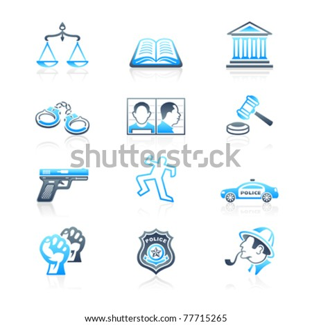 Law and order contour icon-set in blue-gray - stock vector