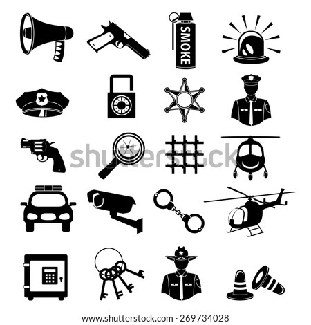 law and order justice police black icon - stock vector