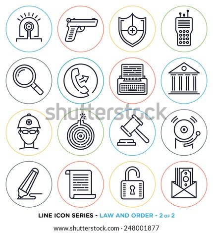 Law and order line icons set.