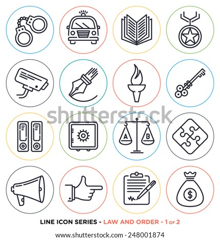Law and order line icons set. Vector collection of justice and crime symbols. - stock vector