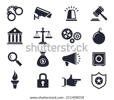 Law and order theme monochrome icons. - stock vector