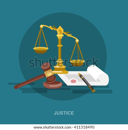Law banner concept, judical system elements and icon, cool flat  illustration