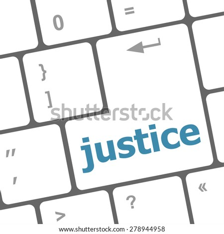 Law concept: justice button on keyboard keys - stock vector