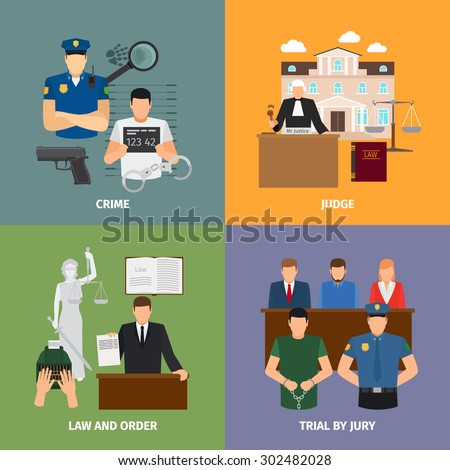 Law concepts with jury trial and house of justice. Vector illustration - stock vector