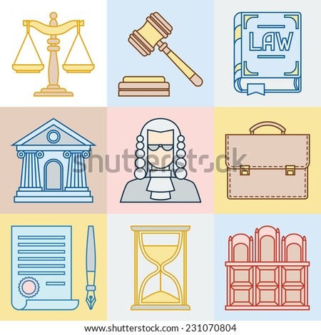 Law contour icons set in flat design style. - stock vector