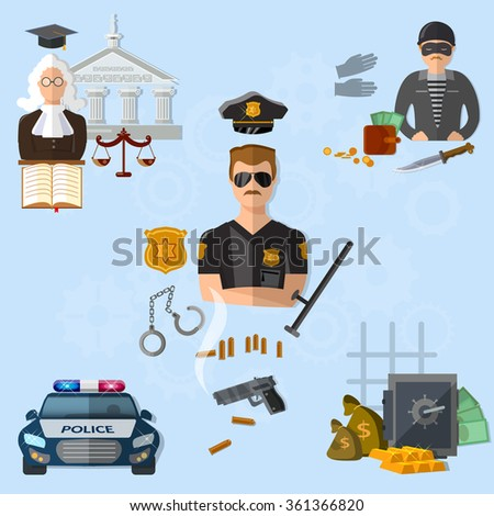 Law crime and punishment justice system police criminal judge vector illustration - stock vector