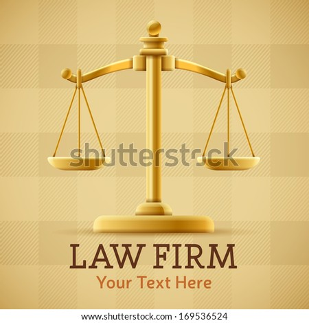 Law firm justice scale background concept with space for text. - stock vector