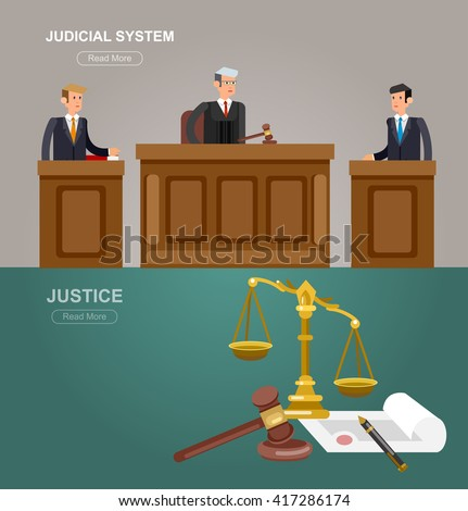 Law horizontal banner set with judical system elements and Law Vector detailed character the judge and the lawyer, Law cool flat  illustration, Law vector - stock vector