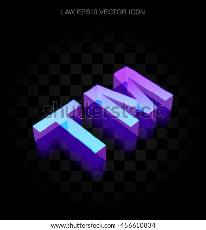 Law icon: 3d neon glowing Trademark made of glass with transparent shadow on black background, EPS 10 vector illustration. - stock vector