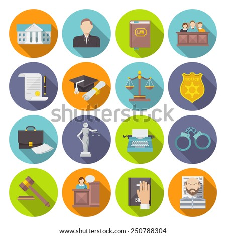 Law icon flat set with lawyer jail court jury isolated vector illustration - stock vector