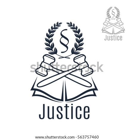 law icon of judge gavel heraldic laurel wreath and justice legal code silcrow section sign