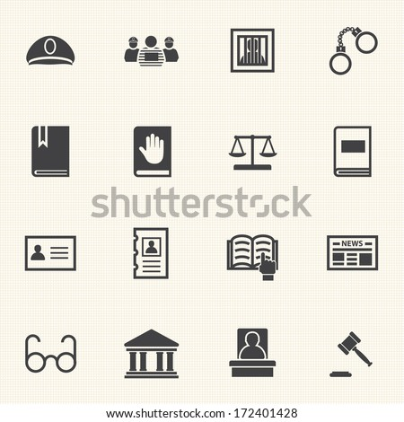 Law icon set - stock vector