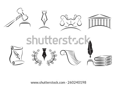 Law Icons Set - stock vector